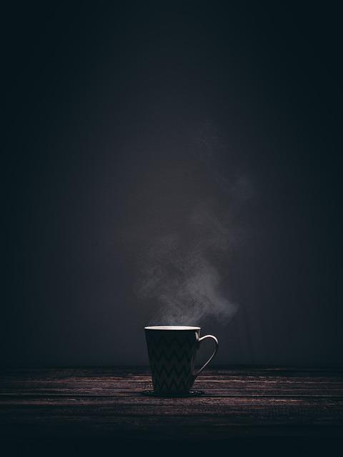 Cup, Mug, Steaming, Smoke, Coffee, Tea, Drink, Dark
