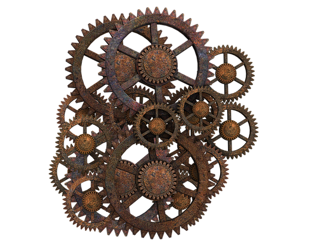 Gear, Gear Wheels, Steampunk, Rusty, Isolated