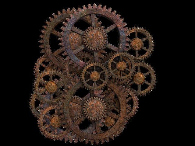 Gear, Gear Wheels, Steampunk, Rusty, Isolated