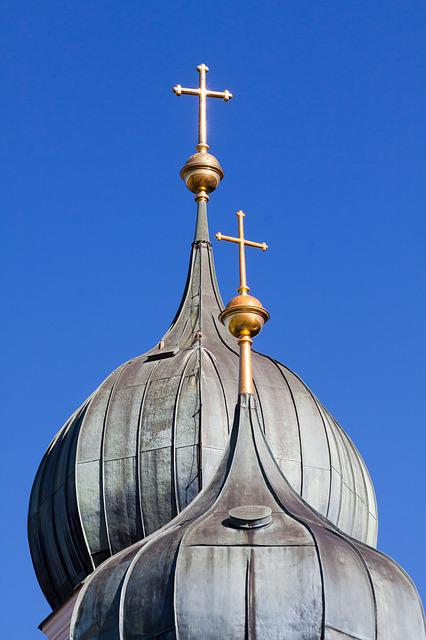 Church, Steeple, Onion Dome, Copper Roof, Cross, Gilded