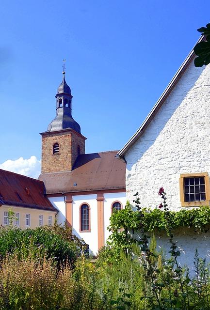 Village Church, Garden, Steeple, Religion, Monastery