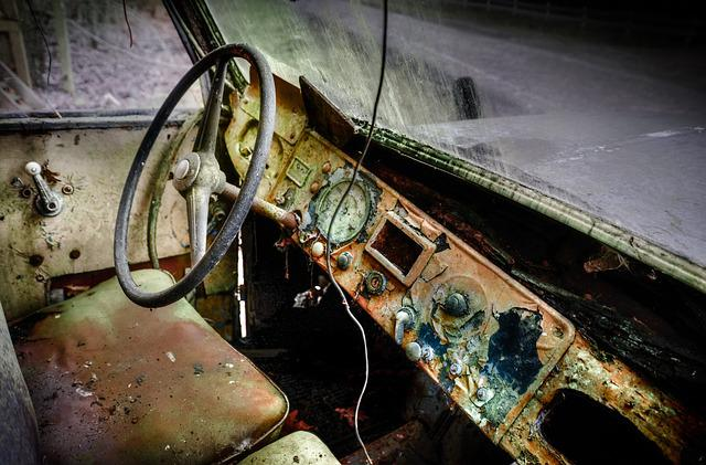Old, Rusty, Industry, Rust, Dirty, Car, Steering Wheel