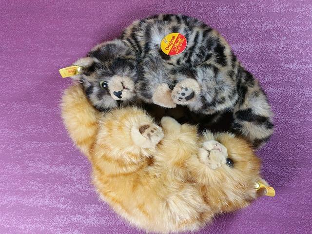 Cat, Snuggle, Steiff, Original, Tiger