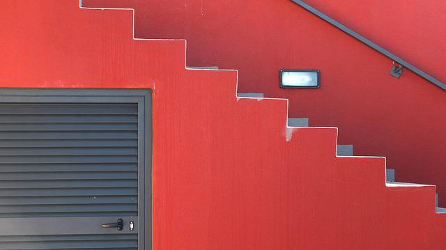 Steps, Red, Modern, Architecture