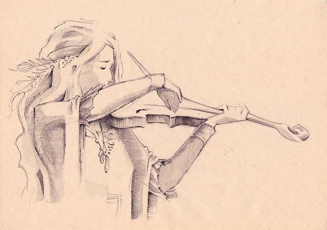 Stick Figure, Figure, Graphics, Girl, Violin