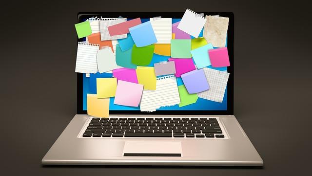 Bulletin Board, Laptop, Computer, Stickies, Post-it