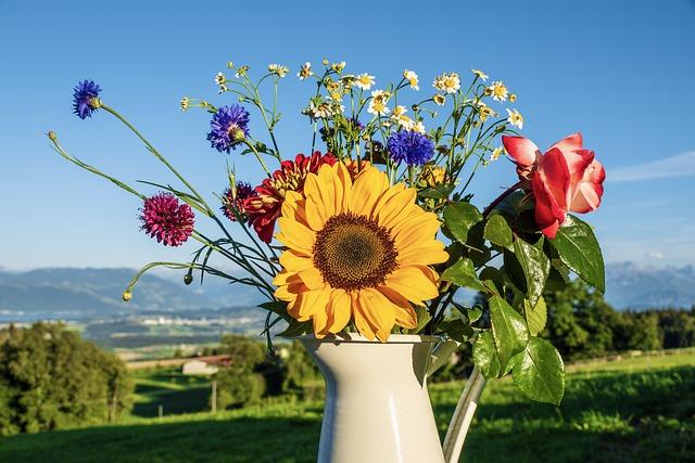 Bouquet Of Flowers, Flowers, Sunflower, Still Life