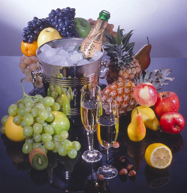 Still Life, Bottle, Champagne, Bucket, Ice, Fruit