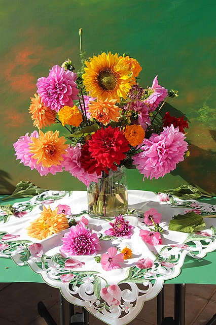 Still Life, Dahlias, Blossom, Bloom, Dahlia Garden