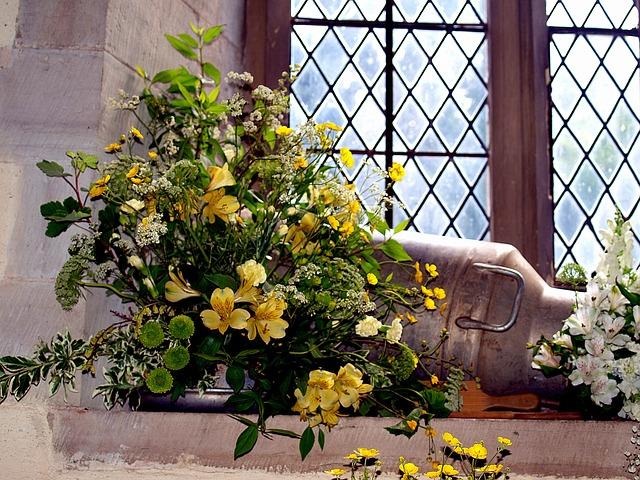 Church, Flowers, Display, Still Life, Window
