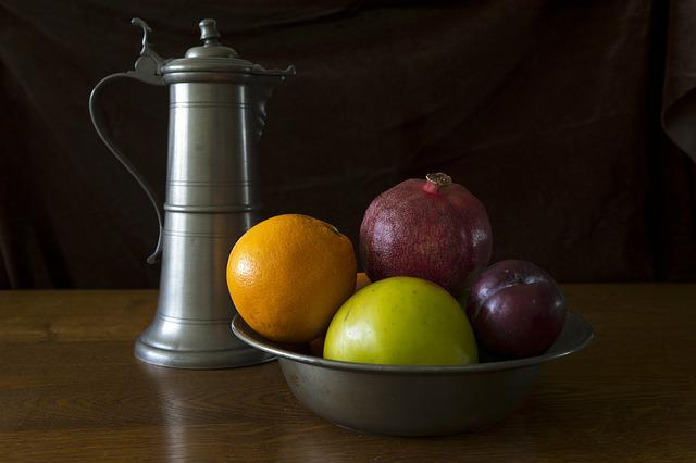Still Life, Pewter Ewer, Pewter Bowl, Fruit, Orange