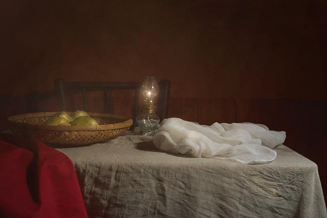 Still Life, Fine Arts, Table, White, Classic, Lamp