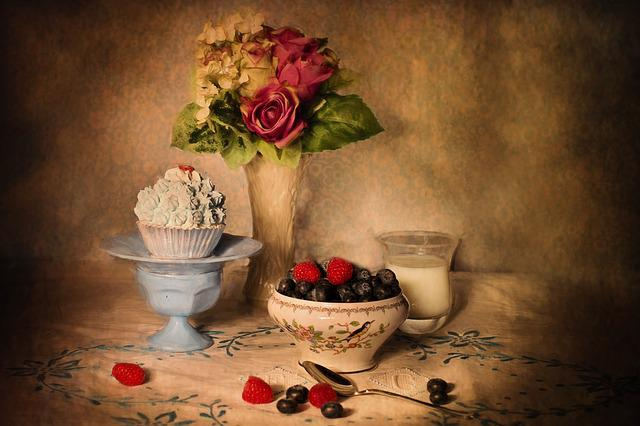 Still-life, Blueberries And Cream, Table Setting