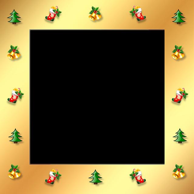 Christmas, Gold, Frame, Border, 3d, Ornaments, Stocking