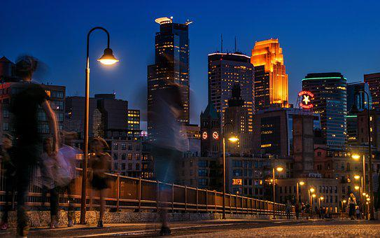 Minneapolis, Skyline, Night, People, Bridge, Stone Arch