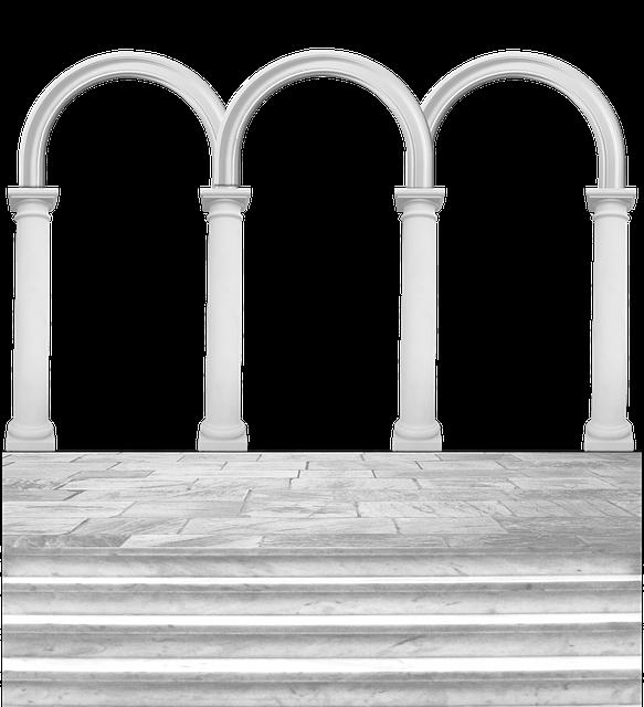 Arches, Arcade, Columns, Steps, Stone, Pavement, Forum