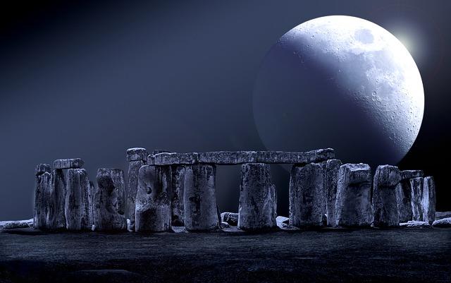 Stonehenge, Moon, Full Moon, Stone Circle, Night Sky