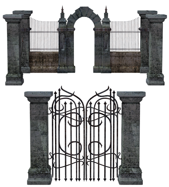 Gate, Portal, Entrance, Fence, Iron, Stone, Mausoleum