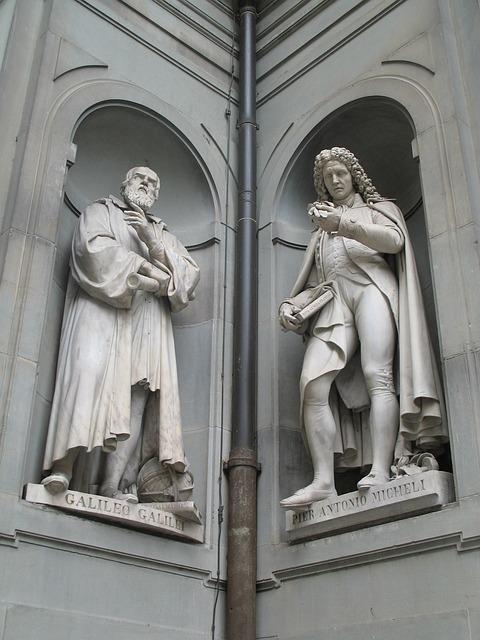Galileo, Galilei, Statue, Stonework, Stone, Sculpture