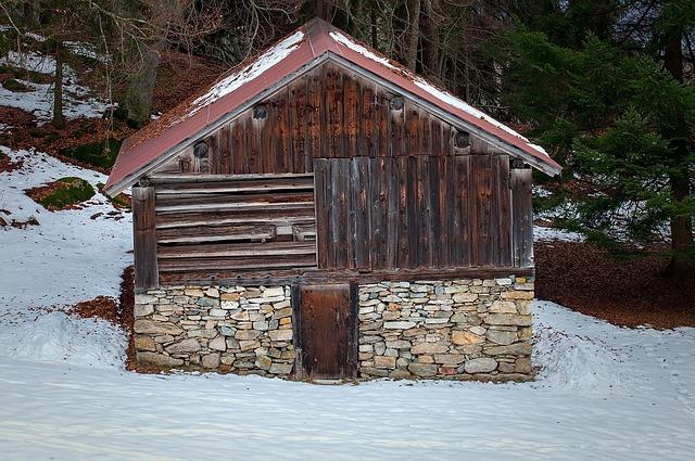 Hut, Barn, Log Cabin, Scale, Snow, Winter, Wood, Stone