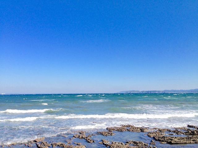 The Sea, Blue Sky, Blue Sea, Reef, Beach, Stone