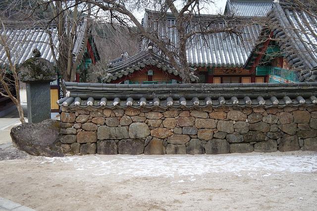 Temple, Hwaeomsa, Jiri, Stone Wall