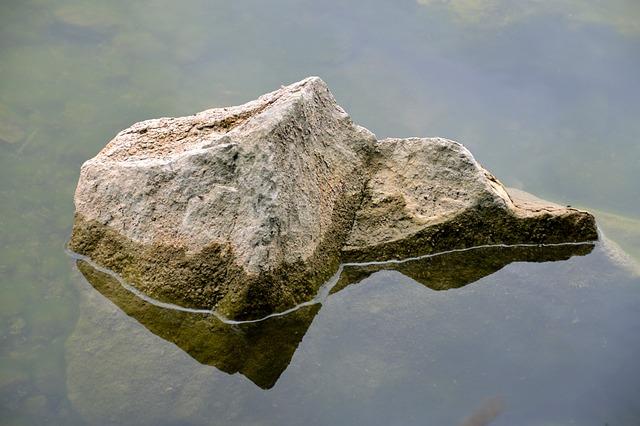 Stone, Island, Miniature World, Water Reflection