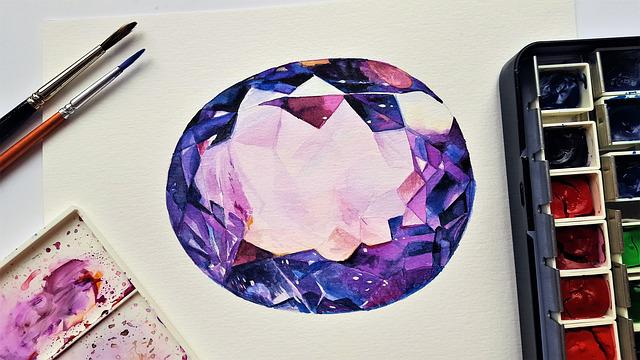 Stone, Gemstone, Amethyst, Painting, Art, Watercolor