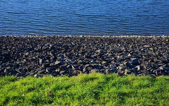 Water, Stones, Bank, Grass, Pattern, Structure