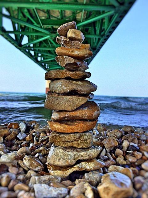 Mackinaw, Bridge, Stones, Balance
