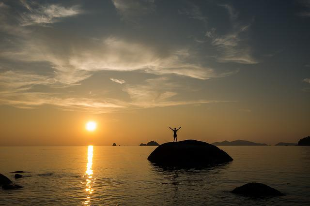 Sunset, Waters, Success, Stones, Man, Poor