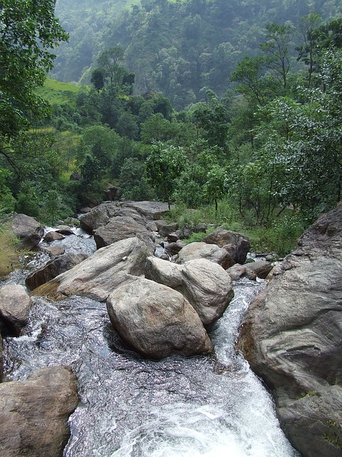 Nepal, Annapurna, Trekking, Rocks, Stones, Water, River