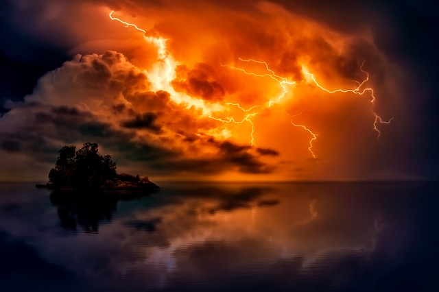 Sunset, Dusk, Lightning, Storm, Weather, Bolts