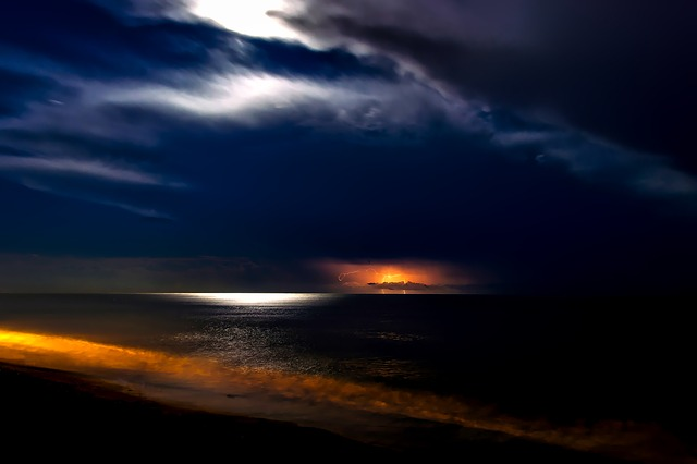 Sea, Ocean, Sunset, Night, Evening, Lightning, Storm