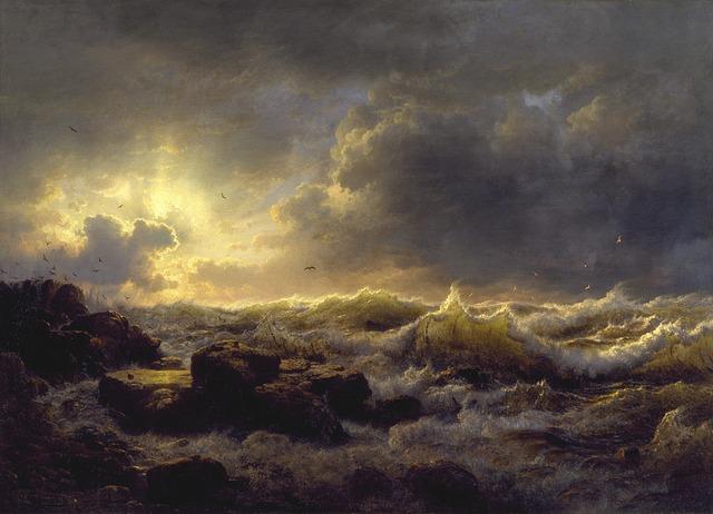 Andreas Achenbach, Sea, Ocean, Water, Storm, Sky