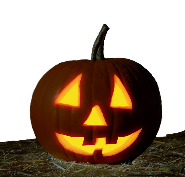 Pumpkin, Face, Halloween, Isolated, Straw, Cut Out