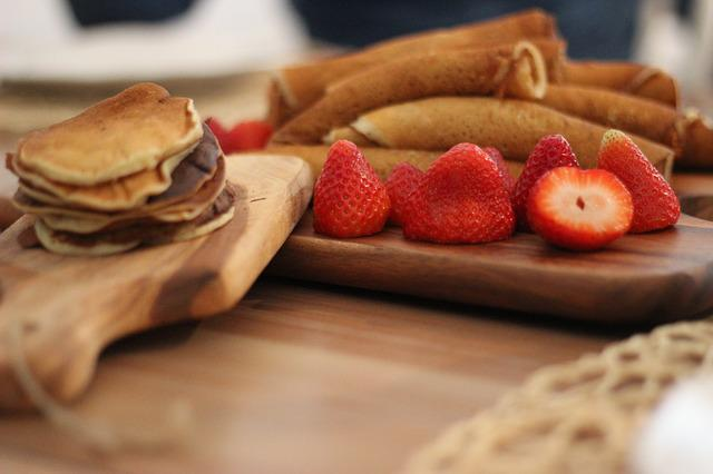 Strawberries, Crepe, Dessert, Sweet, Delicious, Waffle