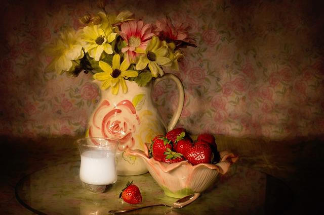 Still-life, Strawberries In A Bowl, Cream