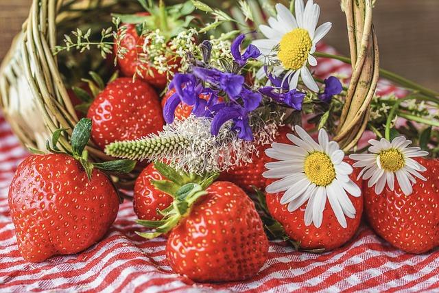 Strawberries, Ripe, Wildflowers, Still Life