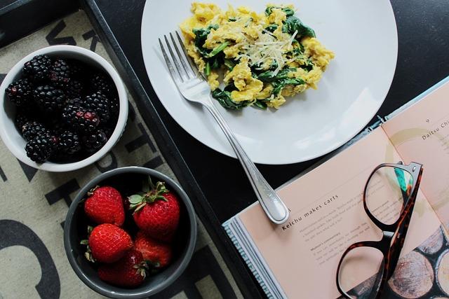 Healthy, Breakfast, Eggs, Strawberry, Blackberry, Book