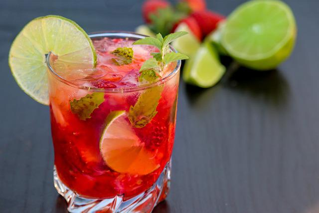 Mojito, Raspberry, Strawberry, Lime, Cocktail, Ice