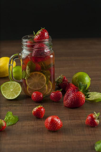 Infused Water, Water, Juice, Strawberry, Lime, Infused