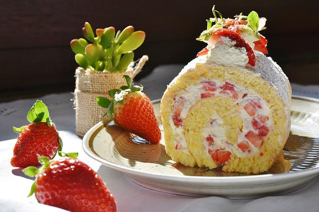 Strawberry Roll, Strawberry, Strawberry Cake, Bisquit