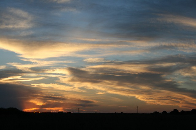 Sunset, Clouds White, Streaked, Glow, Orange, Blue Sky