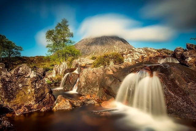 Scotland, Highlands, Mountain, Hill, Stream, Water
