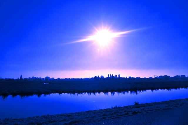 Landscape, Waterway, Stream, Horizon, Skyline, Sun