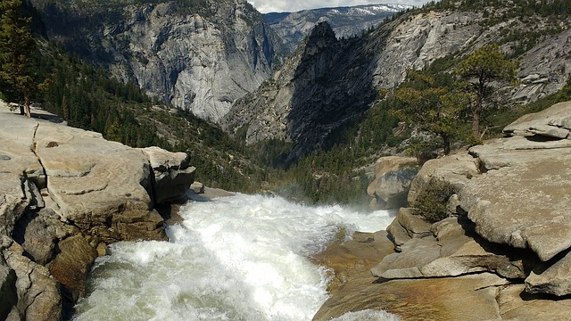Yosemite, Waterfall, Mountain, Stream