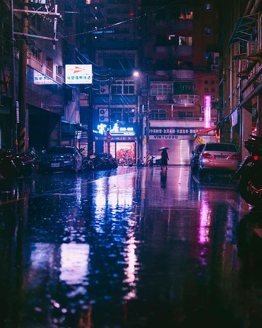 Asia, Rain, Street, Illumination, Umbrella, Water