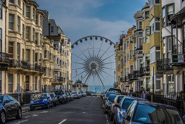 Brighton, Street, Travel, Light, House, England