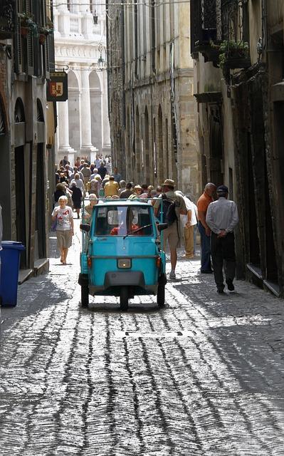 Tricycle, Vehicle, Cobblestone, Street, Italy